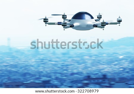 fasten flying drone and town background - stock photo