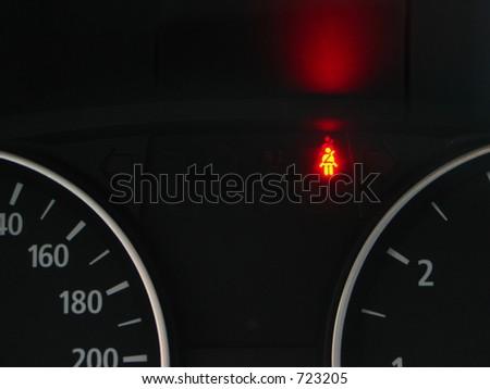 Fasten seat belt sign - stock photo