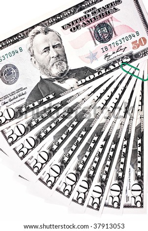 fastened heap of fifty dollars over white - stock photo