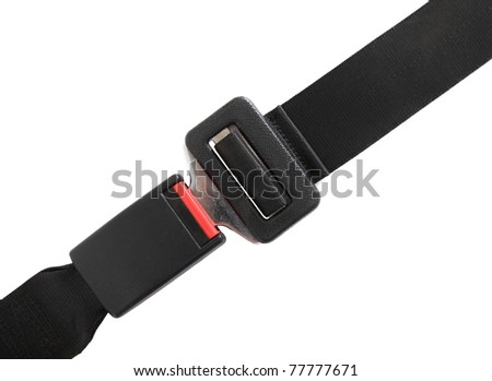 Fastened seat belt. All on white background. - stock photo