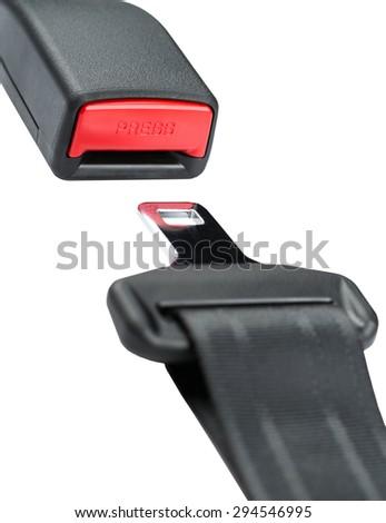 Fastened seat belt. on white background. - stock photo