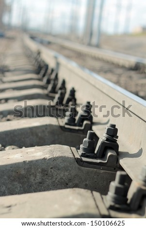 Fasteners of the rails - stock photo