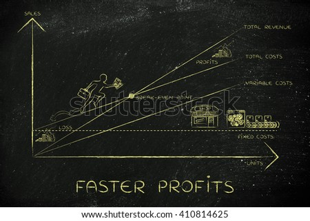 faster profits: break-even point graph with icons and business owner running and climbing on the results