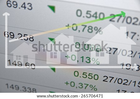 Fastest growing house markets. Home icons and growth arrow. - stock photo