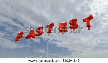 FASTEST - red foil balloons on blue sky - 3D rendered royalty free stock picture. This image can be used for an online website banner ad or a print postcard.