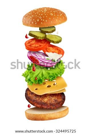 Fastfood - flying ingredients of hamburger isolated on white background. - stock photo