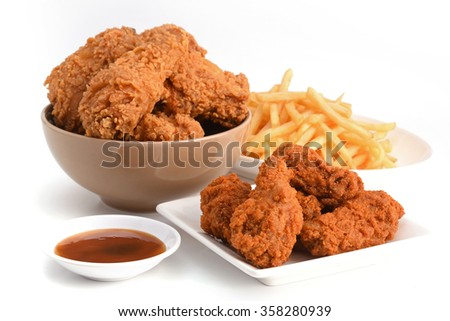 Fastfood french fries ketchup and Chicken, Junk food  - stock photo