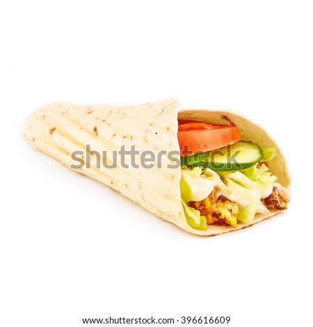 Fastfood tasty egg omelet fresh roll isolated