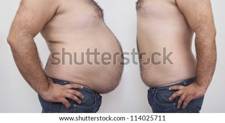 Fat and slim man opposite each other on gray  background - before and after diet - stock photo
