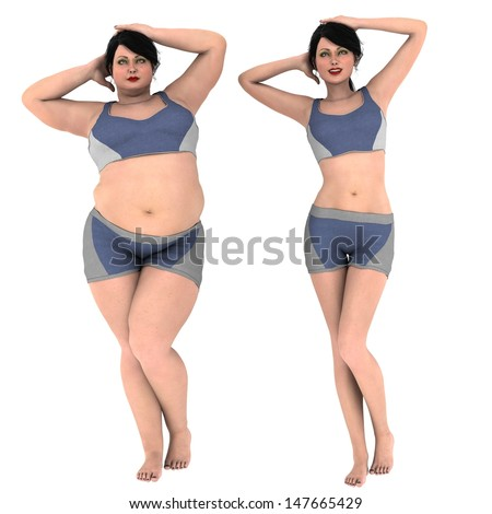 Fat and Slim Woman opposite each other on white background - before and after diet - stock photo
