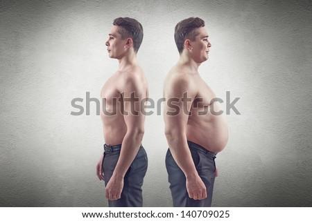 fat and thin man - stock photo