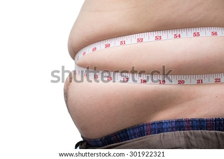 Fat asian man use waist measure for measure his belly. white background