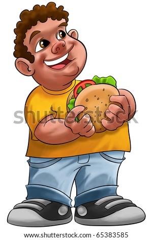 fat boy smiling and ready to eat a big hamburger - stock photo