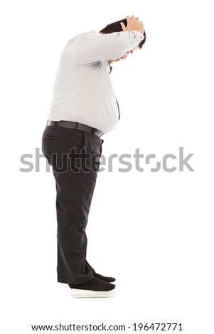 fat business man too unbelievable his weight to hold head - stock photo