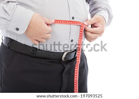fat business man use scale to measure his waistline - stock photo