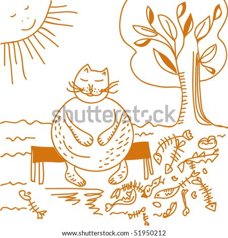 Fat cat after dinner cartoon - stock photo