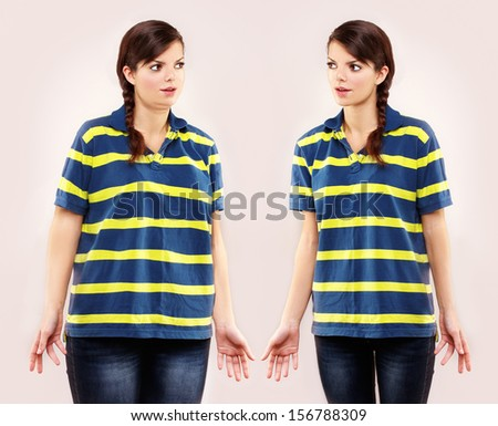 Fat girl standing in front of  thin girl - stock photo