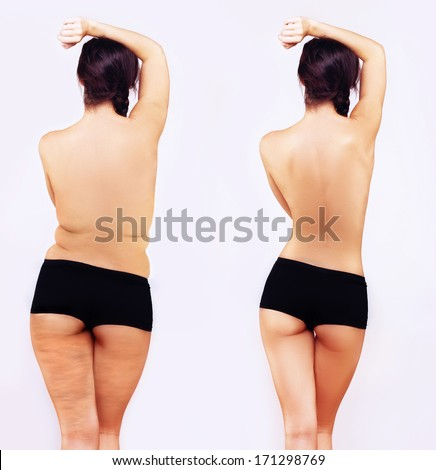 Fat girl standing next to a skinny girl - stock photo