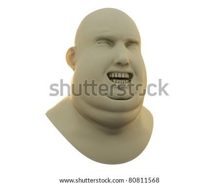 fat guy happy emotion bust isolated over white - stock photo
