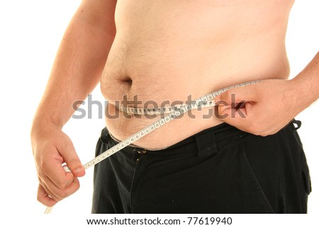 fat guy isolated on white background - stock photo
