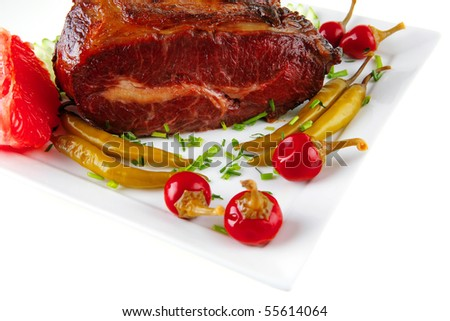 fat hot roast meat with red and green peppers