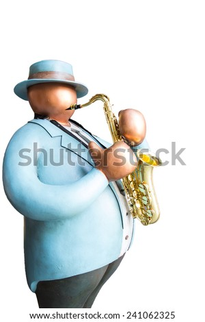 Fat human toy playing Jazz saxophone instument on white background isolated - stock photo