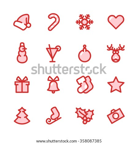 Fat Line Icon set for web and mobile. Modern minimalistic flat design elements of christmas decorations, party and invitation - stock photo