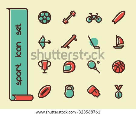 Fat Line Icon set for web and mobile. Modern minimalistic flat design elements of sport equipment, Health and Fitness - stock photo