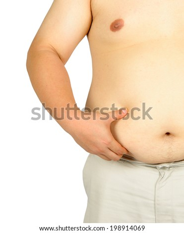 Fat man checking out his weight isolated on white background - stock photo