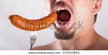 fat man  diet - stock photo