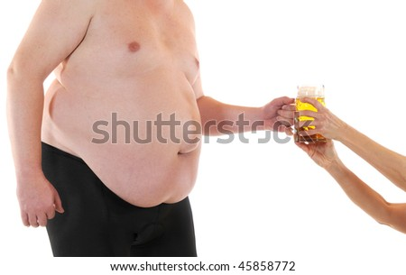 Fat man gets a fresh beer - stock photo