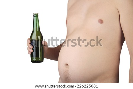 fat man holding a beer - stock photo
