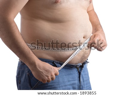Fat man holding a measurement tape against white background - stock photo