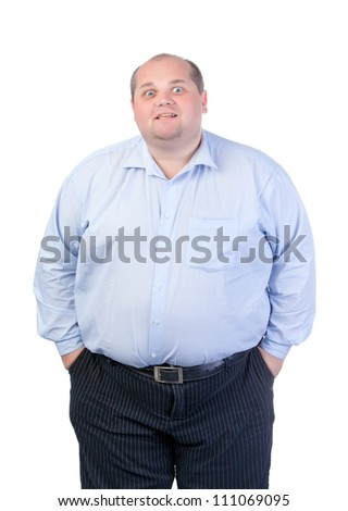 Fat Man in a Blue Shirt, Contorts Antics, isolated - stock photo