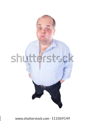 Fat Man in a Blue Shirt, Contorts Antics, wide-angle top view, isolated - stock photo