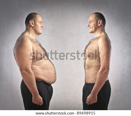 Fat man in front of a fitter one - stock photo