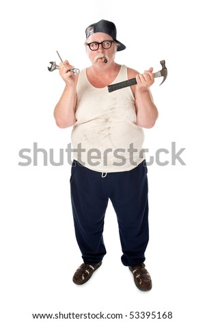 Fat man in tee shirt with multiple tools - stock photo