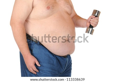 Fat man isolated on white - stock photo
