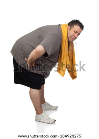 Fat man playing sport and smoking isolated on a white background - stock photo