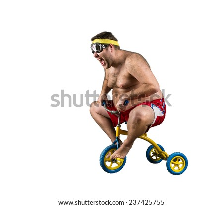 Fat man riding a small bicycle - stock photo