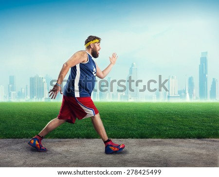 Fat man running - stock photo