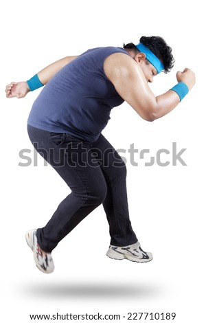 Fat man running for exercising. isolated on white background - stock photo