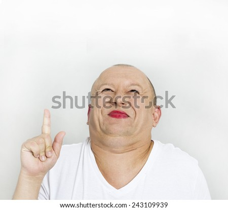 Fat man show up - stock photo