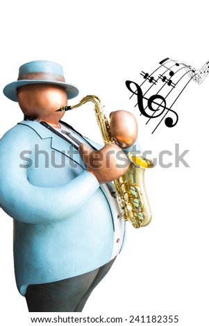 Fat man toy playing saxophone instrument and show music note on white background isolated - stock photo