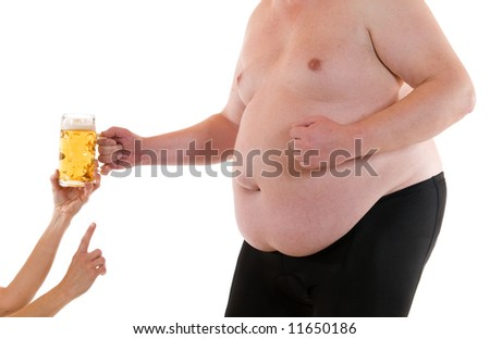 Fat man wants to get a beer - stock photo