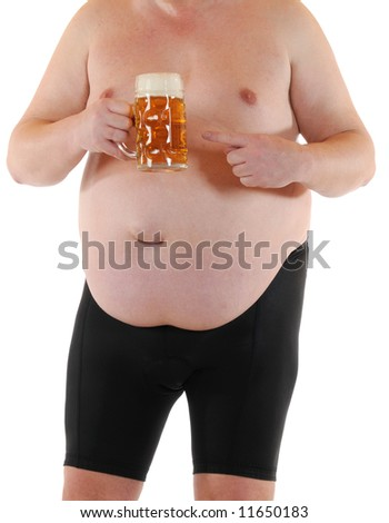 Fat man wants to take a  beer - stock photo