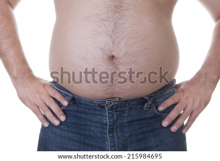 Fat man with a big belly. Diet - stock photo
