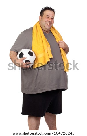 Fat man with a soccer ball isolated on a white background - stock photo