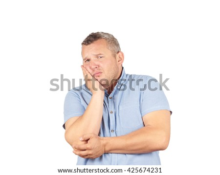 Fat man with a toothache. Isolated on white background.