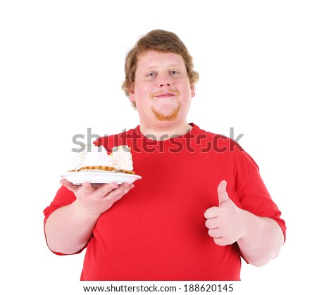 Fat man with creamy cake isolated on white - stock photo